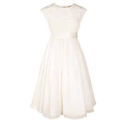 Buy John Lewis Girl Beaded Pleat Bridesmaid Dress, Ivory Online at johnlewis.com
