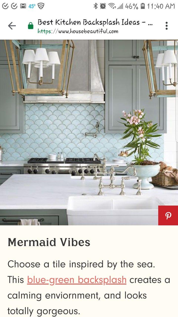 - Mermaid Tiles...? Green Backsplash, Mermaid Tile, Home Decor