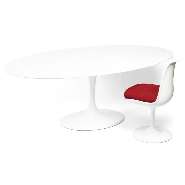 Contemporary Tulip White Fibreglass Oval Table