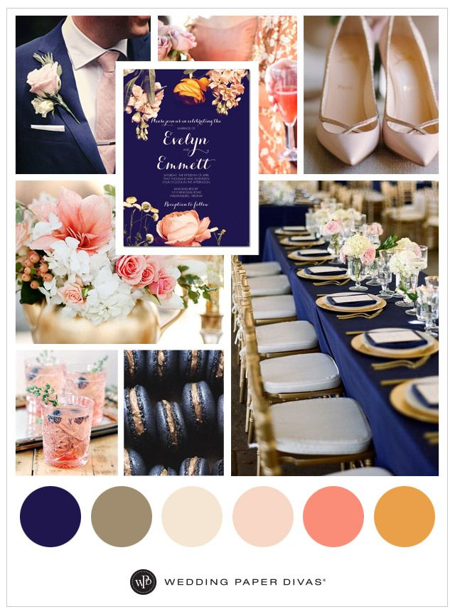 Bold navy and pink coral blooms go with complementary for Navy blue and pink wedding