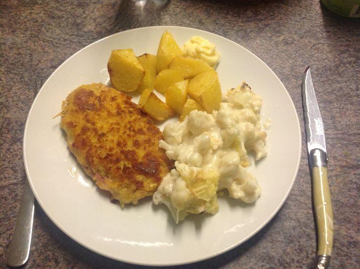 04 februari 2018 - Cordon Blue met bloemkool en aardappeltjes uit de oven - eigen creatie - zeer lekker - 8,5/10