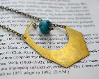 Brass pendant with turquoise natural stone on chain with chain and stone on the back too.