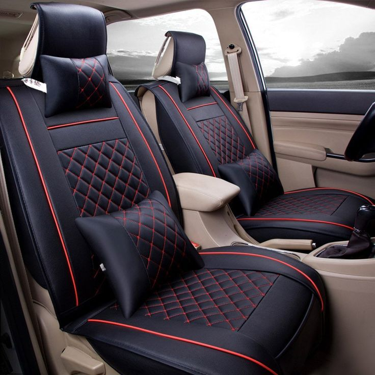 Amazon.com: Super PDR Universal Fit car Seat Covers Set PU Classic Leather Seat Covers 5 seats Full Set Front Rear Car Bucket Anti-Slip Easy to Clean (Black&Red L): Automotive