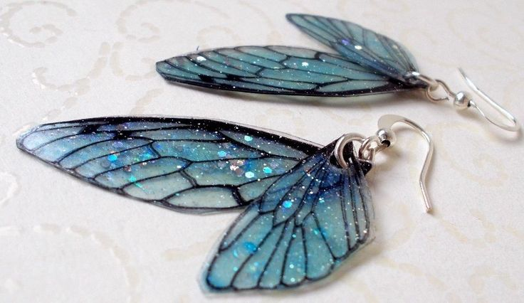 Blaue Feenflügel Schmuck Ohrringe-/Unikat Elfe Glitter Glitzer Schmetterling