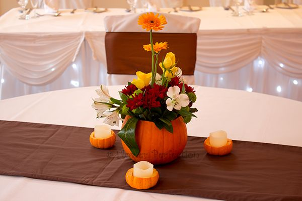 A cute pumpkin table centre for an Autumnal wedding. Something a bit different!!