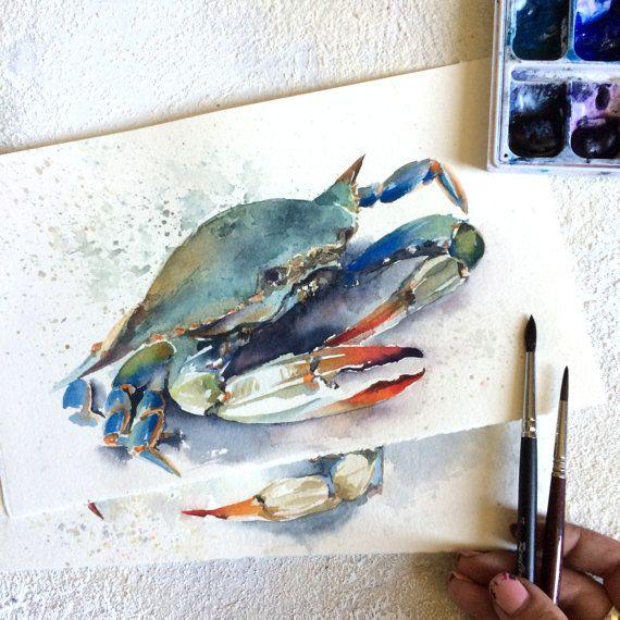 Aquarelle peinture créatures de la mer crabe bleu par CanotStop