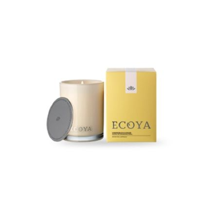 Ecoya Candle – Lemongrass and Ginger. 400gm soy wax candle in madison jar  Ginger and freshly cut lemongrass are blended with African mint and aromatic herbs to create a balanced and refreshing classic.