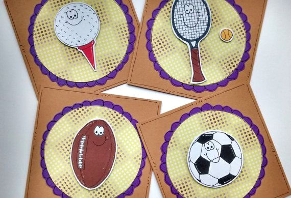 Sports Ball Notecard Set  Mini Notecards  by CraftyMushroomCards