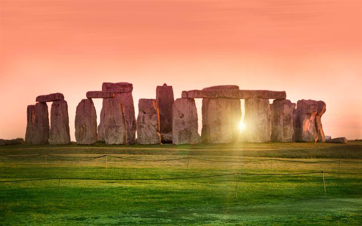 Download wallpapers Stonehenge, 4k, sunset, english landmarks, England, UK