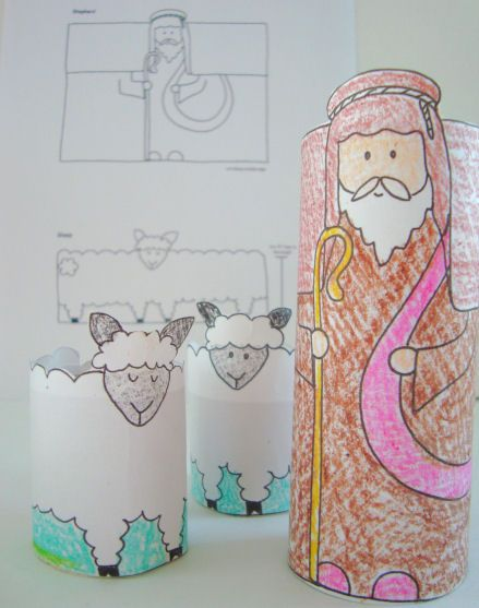 Lesson 19 The Good Shepherd: John 10, Psalms 23 - paper towel or toilet paper tube shepherd and sheep