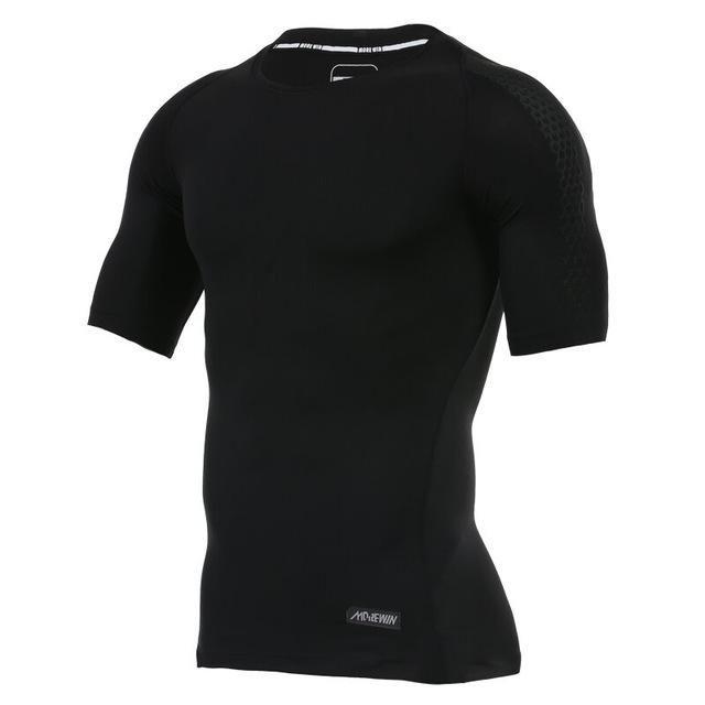 Men Gym Running Shirt Sports Sportswear Joggers Fitness Compression Tights Shirt Elastic Clothes Short Sleeve Jerseys