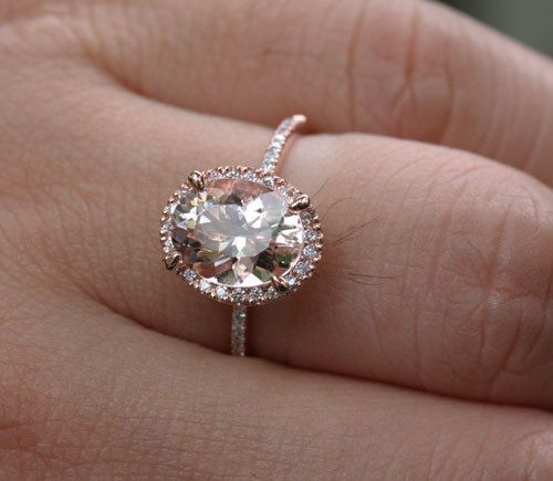 Rose Gold Morganite Engagement Ring in 14k Rose von Twoperidotbirds
