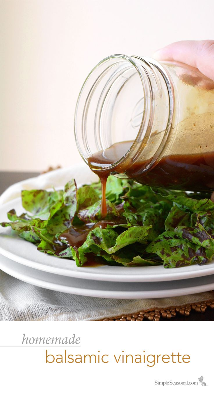 "Homemade Balsamic Vinaigrette - Just say ""NO"" to processed dressing with this incredibly simple, easy-to-make, homemade balsamic vinaigrette that will kick your salad up a notch!"