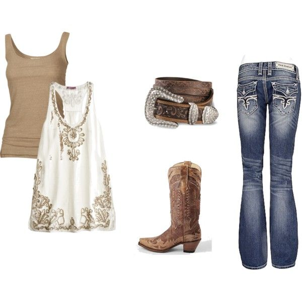 """""""Country Girl Summer Night"""".  I'm always trying to think of outfit ideas for nights when I go country dancing.  This is super cute!"""