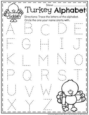 Preschool Letter Tracing Worksheets - Thanksgiving Preschool Worksheets