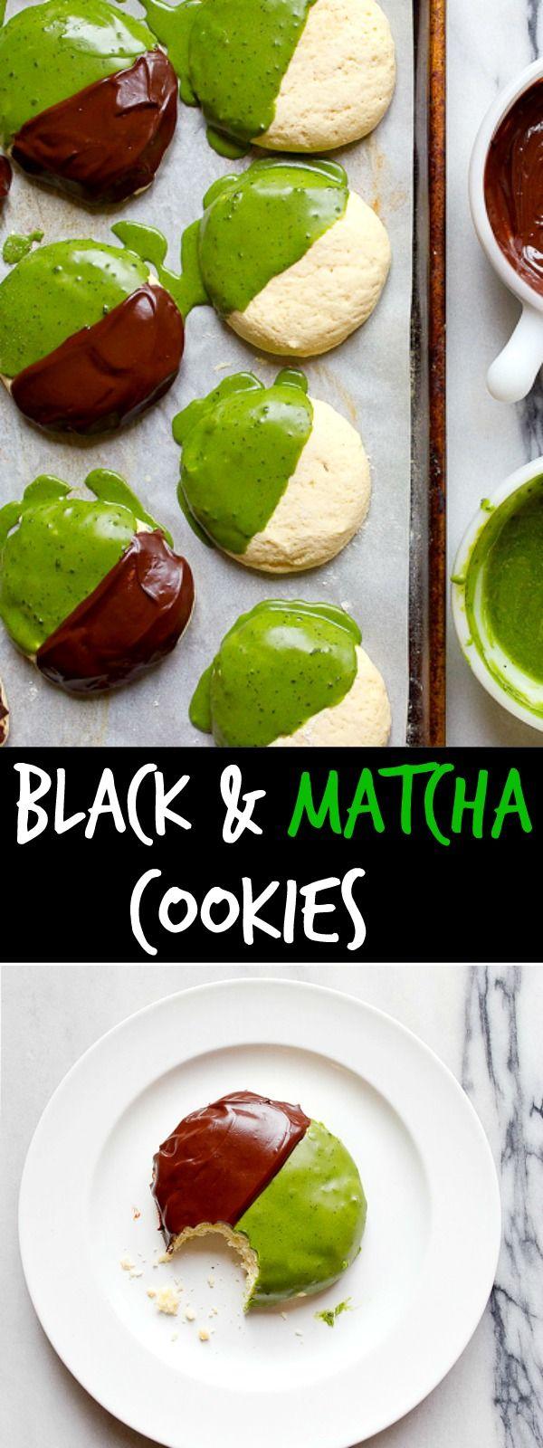 Black and white cookies made with matcha. Matcha tea cookies. Chocolate matcha dessert.
