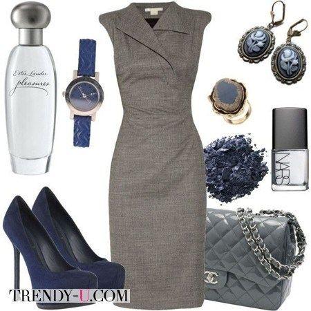 Серое платье - синие аксессуары