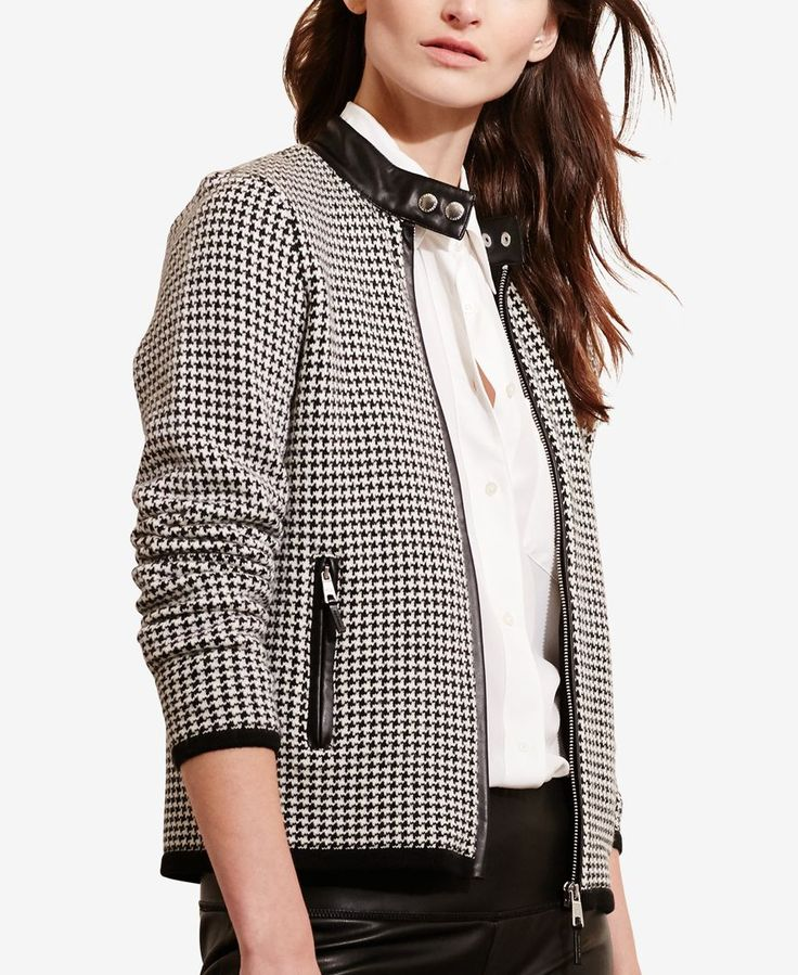 Lauren Ralph Lauren Petite Houndstooth Moto Jacket - The houndstooth jacket has been in and out over the decades. The one thing that doesn't change is that it is made of houndstooth. Very timeless piece. - Hannah Scott (2.12.18)
