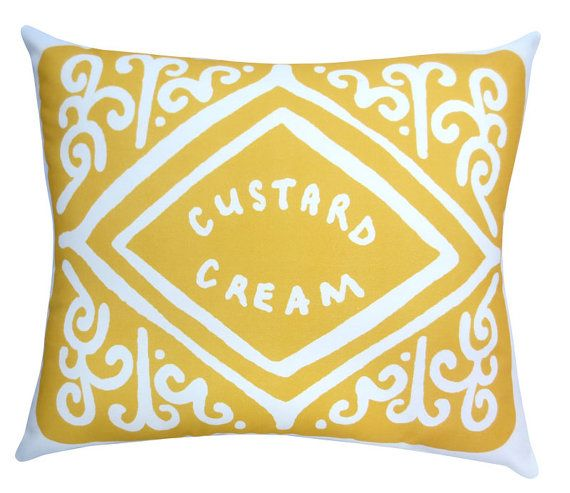 Super-sized Custard Cream Cushions.  I've seen this cushion in Zoella's videos!