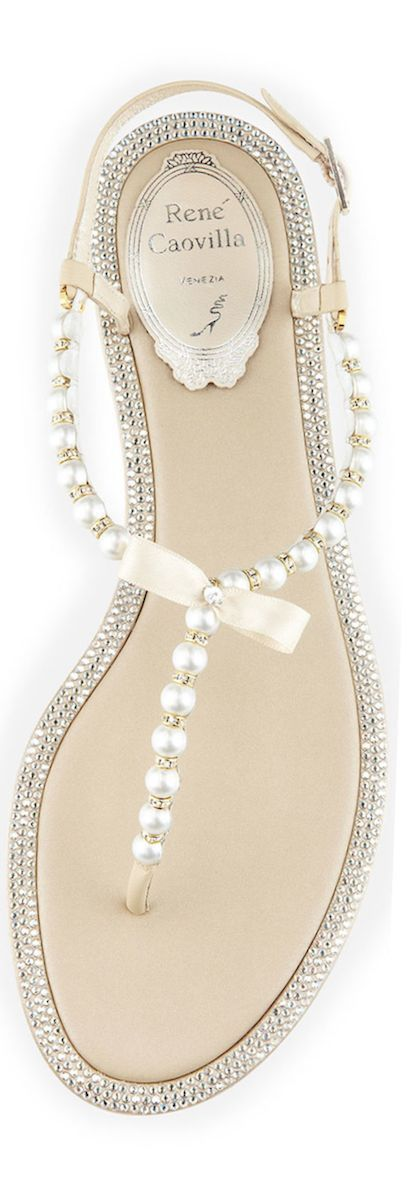 Love everything about those rene caovilla. Love the pearls, the bow, the crystals everything.. Perfect beach wedding sandals. You need beautiful soft smooth feet to go with these from Skoother Skin Smoother. http://kck.st/1fH4ojK