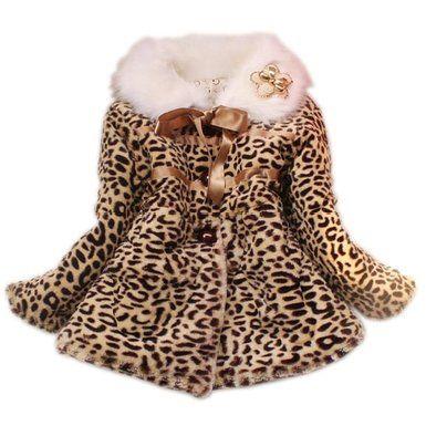 Baby Toddler Princess Faux Fur Leopard Coat Girls Warm Jacket Snowsuit Clothing (2-3