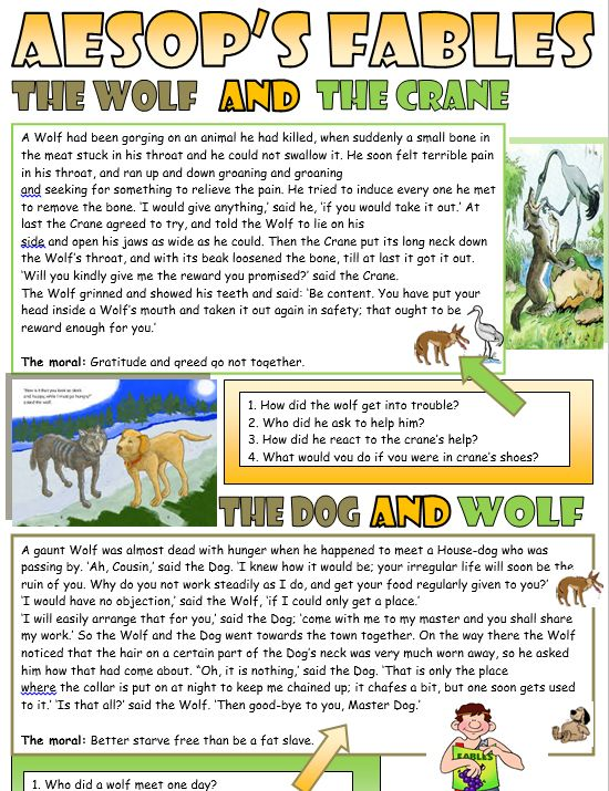 The Wolf and the Crane Reading Comprehension :http://myreadingkids.com/wolf-crane-reading-comprehension/
