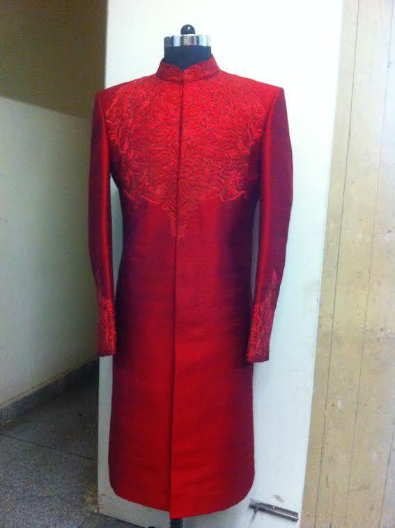 red sherwani by sagar tenali.