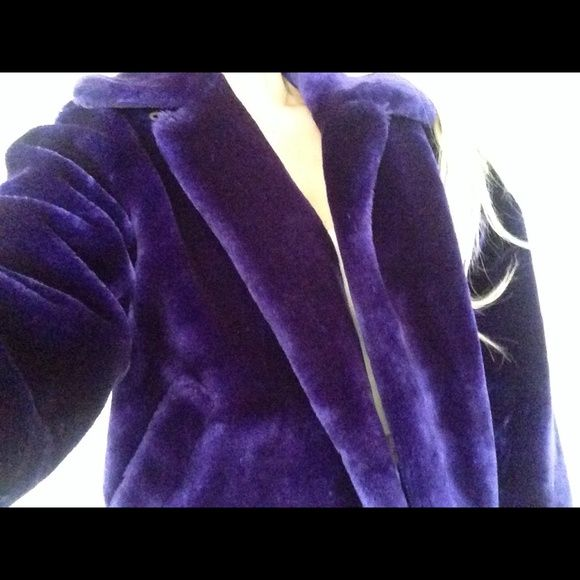 Purple Faux Fur Guess Jacket Cute faux fur coat--very warm and comfy!  Guess Jackets & Coats