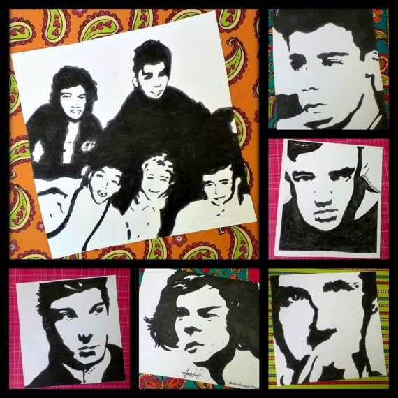 one direction package by Doodlesandstrokes on Etsy you can also, get them each picture separately