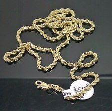 2 10K Yellow Gold Rope Chain Necklace With Diamond Cuts 22 and 24 Inch 2.5mm