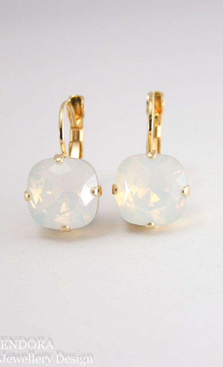 white opal crystal earrings,crystal earrings,10mm square swarovski crystal leverback earrings,square crystal earrings,white opal earrings by EndoraJewellery on Etsy https://www.etsy.com/au/listing/205933657/white-opal-crystal-earringscrystal