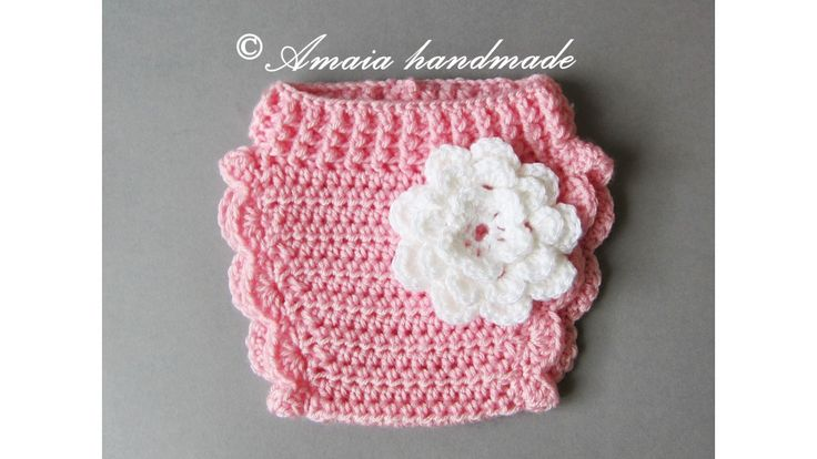 Pink diaper cover with flower - Crochet baby girl diaper cover for Newborn to 12 Months, Great for baby girl photo prop! by Amaiahandmade on Etsy