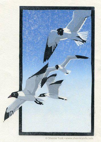 Soaring - Reduction Linocut by Sherrie York