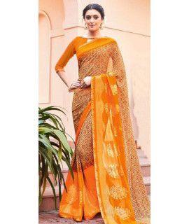 Classy Yellow And Multi-Color Chiffon Saree.