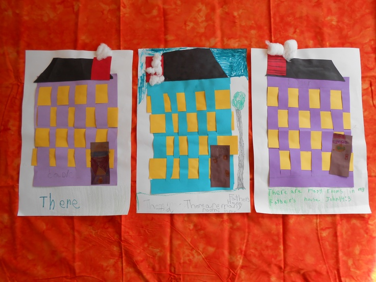 """First Grade """"In My Father's House..."""" Paper House Weaving"""