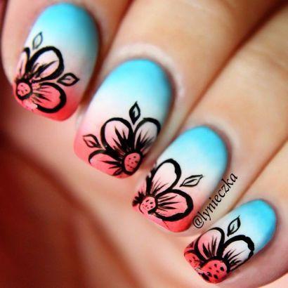 Mooie nagels voor in de zomer. Je kan deze nagels laten doen als je deze afbeelding laat zien bij een nagelspecialist of iemand die je nagels doet.