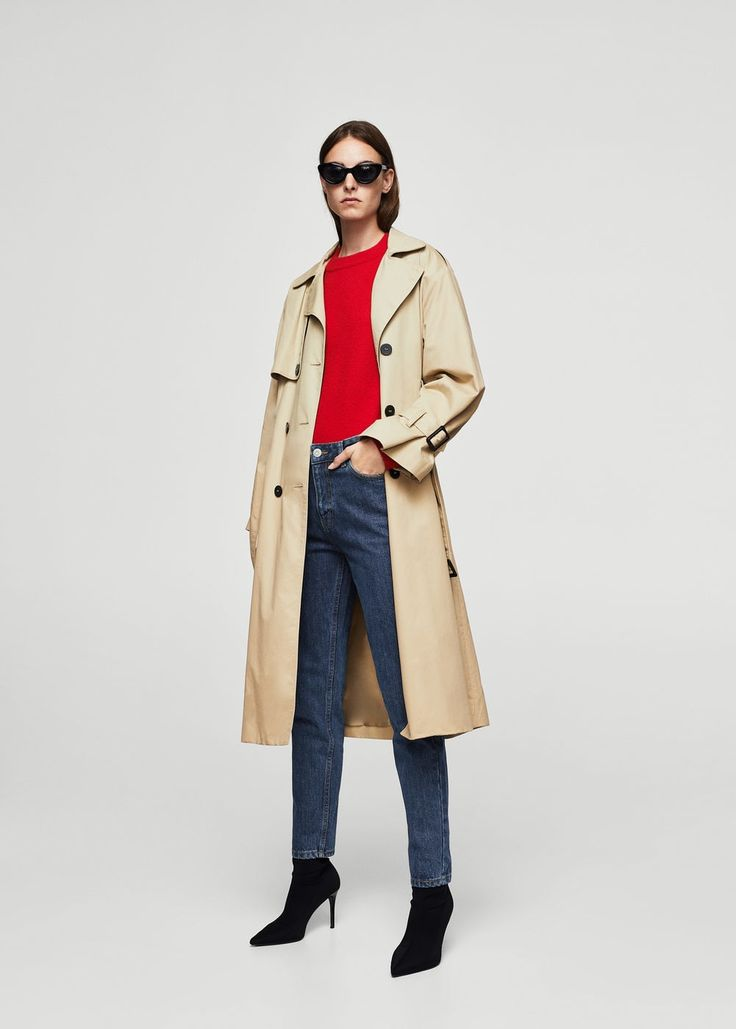 Mom relaxed jeans | MANGO (How funny is that, they literally call them Mom jeans. I am saving this because I love the coat though. A great trench coat pulls outfits together and is the best investment you can make in clothing! This coat could be 1940s or now or any time between! The color and the length, all perfect & classic!