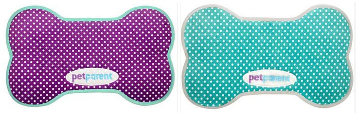 PetParent Food Mats- Purple or Teal Polka Dotted Patterns are sure to please!   #petparent #foodmat #comfy #cozy #soft #fleece #dog #spoiled #purple #teal #polkadot #plush #nonslip #washable