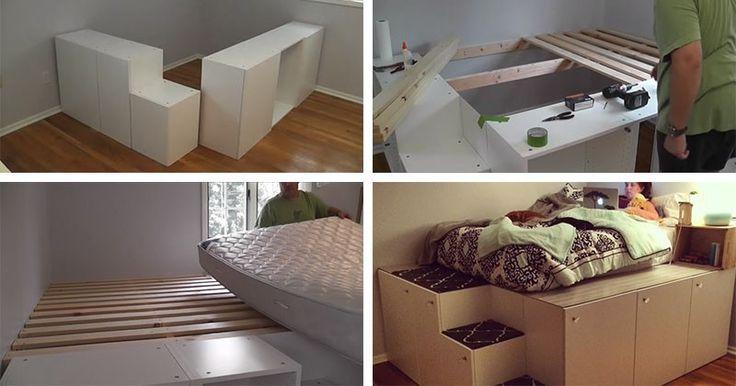 Regardez ce mec transformer IKEA armoires de cuisine dans un lit plate-forme avec rangement
