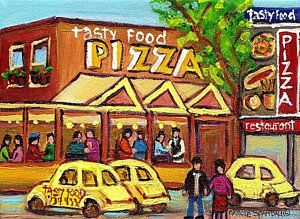 French Quarter Painting - Tasty Food Pizza On Decarie Blvd by Carole Spandau