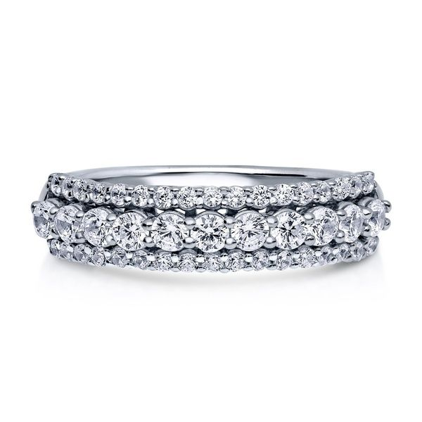 Sterling Silver .925 CZ Round Anniversary Eternity Wedding Band Ring Size 4-10