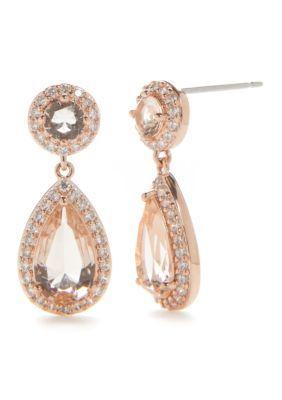 Nadri  Rose Gold Framed Light Pink Pear Drop Earrings - Light Pink - One Size