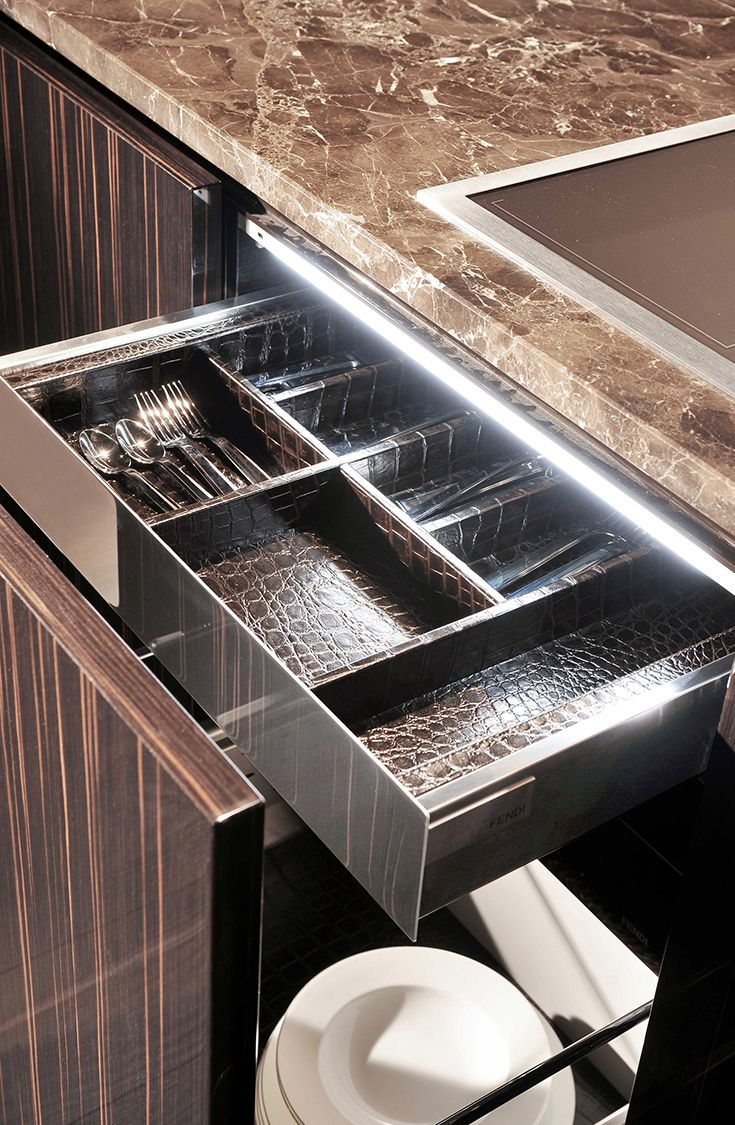 Drawer detail at Villa Livia by Fendi Casa Ambiente Cucina, September 2014 edition, Luxury Living Group #leather #kitchen #cutlery #marble
