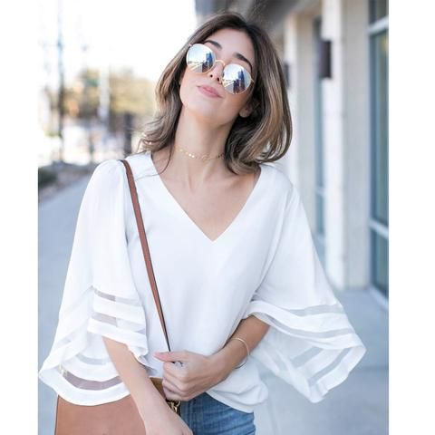 a4dcc6ebc00 2018 Summer Puff Sleeve White Blouse Women V Neck Woman Shirt Elegant  Patchwork Mesh Tops Formal Clothing for Office lady