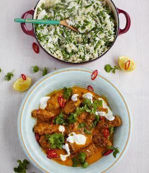 Jamie Olivers Hackröllchen in Currysauce, Reis mit Bohnen und Erbsen | sixx.de
