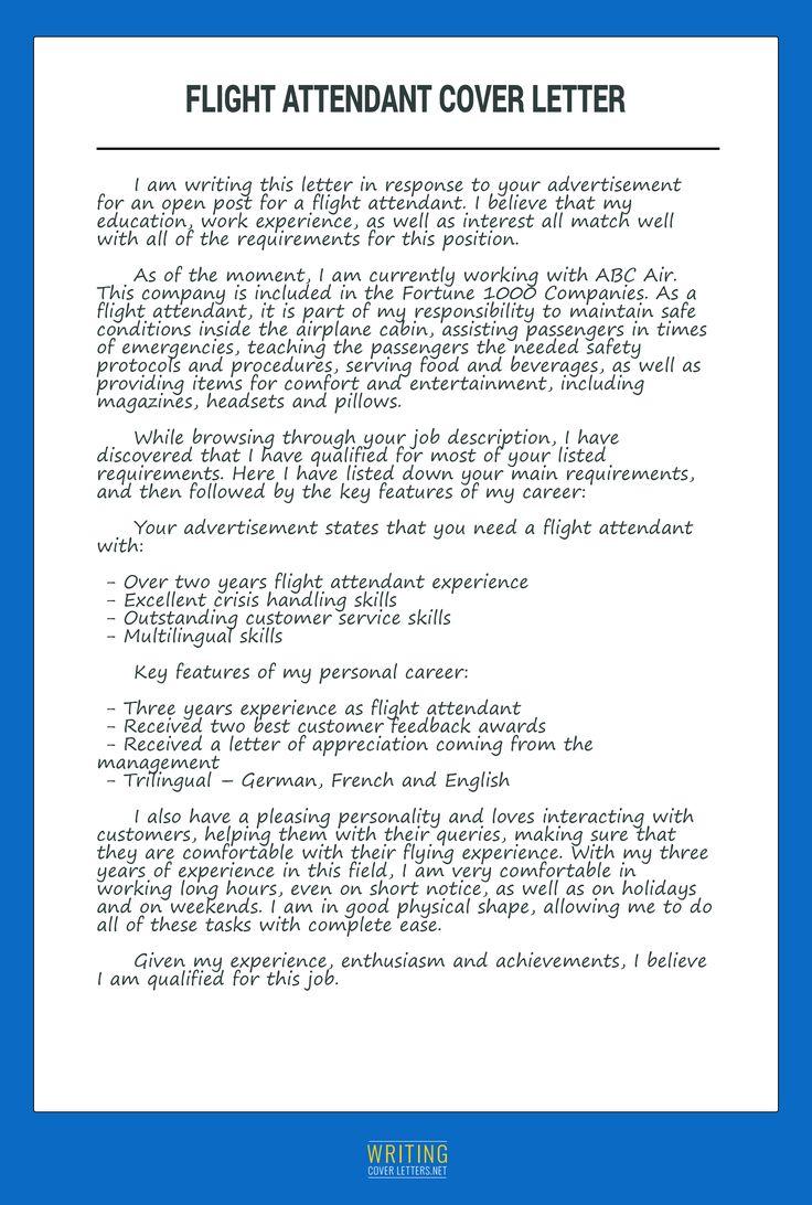 flight attendant cover letter Flight attendant, Flight