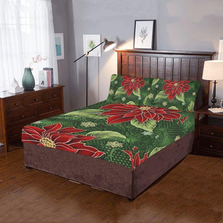 Elegant Christmas Poinsettia 3-Pieces Bedding Set