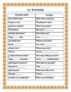 Worksheets Greetings In Spanish the 25 best ideas about greetings in spanish on pinterest la entrevista students interview each other spanish