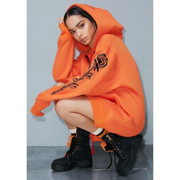 Poster Grl Orange Roses Hoodie (£36) ❤ liked on Polyvore featuring tops, hoodies, orange hoodies, red top, embroidered top, red embroidered top and orange hoodie