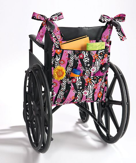 wheel chair organizer ~ Make this out of something sturdy like canvas then paint mermaid on it, instead of painting back of chair seat.
